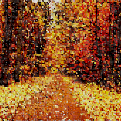 Colours of fall in a dotted art